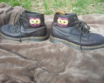 Hand Sewn Owl Patch Doc Marten Boots Size 9/11