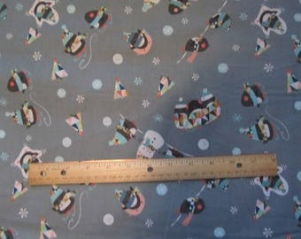 Gray Penguin/Snowman/Snowflake Toss Cotton Fabric by the Yard