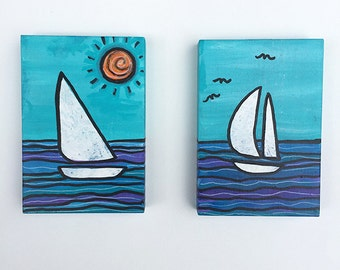 Sailboat Paintings - Pair of Small Nautical Mixed Media Paintings - White Sails, Sailing Art, Boat, Sailor Gift, Vacation by Claudine Intner
