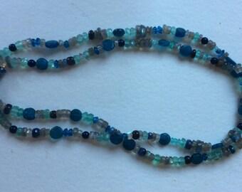 Necklace with Blue Sapphire Apatite Labradorite Aquamarine