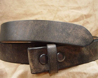 Distressed Black Leather Belt - Hand Cut for Perfect Fit.