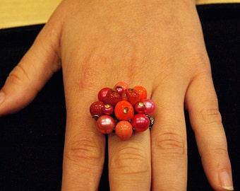 Vintage Red and Pink Bead Bundle Repurposed Clip-on