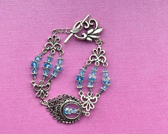 Tibetan silver bracelet, something blue for bride, blue wedding jewelry, silver celtic bracelet, silver leaf bracelet, blue bridal bracelet