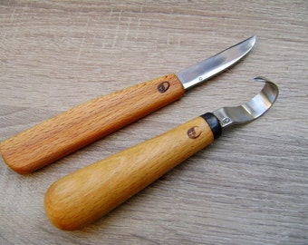 Spoon carving set. forged by hand. spoon carving tools. spoon carving knives. hook knife.