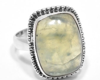 5.7Gram Natural Prehnite 12x16mm Gemstone Solid 925 Sterling Silver Ring Size 6.5