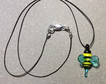 Glass bee necklace, bee bead, silk necklace