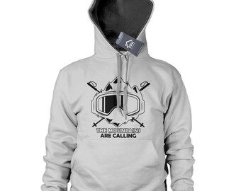 The Mountains are calling Hoody Mens Womens Ski Snowboard Gift Hoodie Top 496