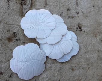 Large White cabebe shell flower shape pendant-3 inch diameter-Tahitian costume, pendant, necklace