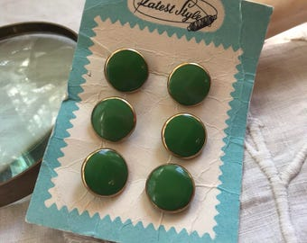 Latest Style Card of 6 Glass Buttons. Vintage. Green. Gold.