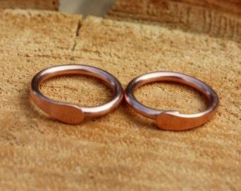 Copper Hoop Earrings - 16 Gauge Copper Hoops - Endless Hoops - Sleeper Earrings - Gauged Hoops - Single Or Pair - Stretched Earlobes