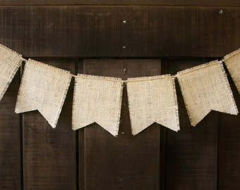 BURLAP and TWINE  Banner, Square Flags, Bunting, Garland, Pennant, Photo Prop, Wedding Decor, Baby Decor, Home Decor