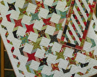 Quilt Patterns - Twisting With The Stars - 4 Quilt Sizes plus Table Runner - Layer Cake - Jelly Roll - Hard Copy Version - FREE SHIPPING!!