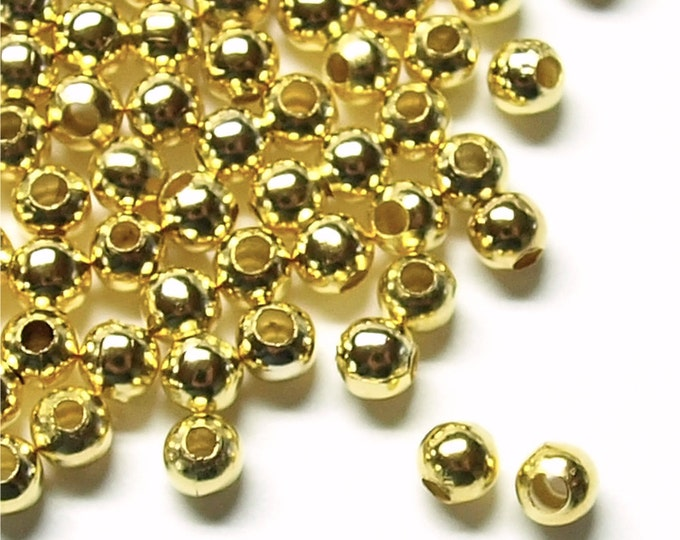 CLOSEOUT - Bead, Round, 3mm, Gold - 500 Pieces (BDBGP-RD30)