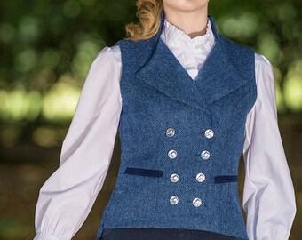 Regency Waistcoat in Lorne-Blue Herringbone Tweed