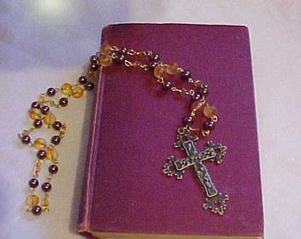 GLASS BEAD Chain w/Ornate, Antique Brass-Tone Cross~~3 colored Glass Bead Chain~~Very ORNATE Cross Pendant~Comes w/Hand Knit, Little Purse