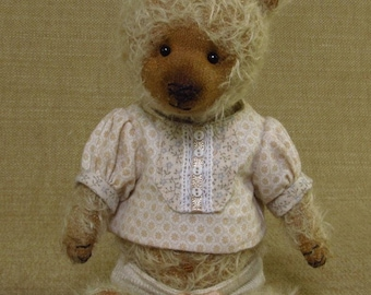 Little dressed bear with mohair fur leather paws a sweet artist bear dressed baby girl teddy Bridgette Pocket
