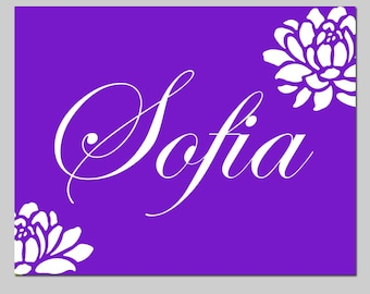 Girl Nursery Decor Flower Name - 11x14 Print - Kids Wall Art - CHOOSE YOUR COLORS - Shown in Purple and More