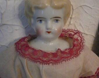 "1880 German Hertig Original Doll China Head low brow Blonde Hair Blue Eyes Beautiful Dress 12.5"" #2 G"