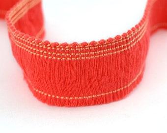 coral pink fringe Cotton sewing 2.5 cm 50 cm