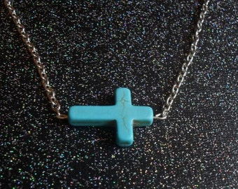 sideways turquoise cross necklace