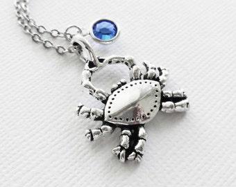 Crab Necklace Nautical Beach Wedding Sea Life Ocean Animal Summer Gift Silver Jewelry Swarovski Channel Birthstone Crystal