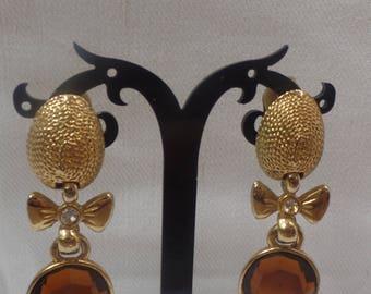 Vintage Amber Gold Drop Earrings