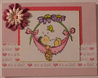 Hand-stamped Baby Girl  Hedgehog Card, pink,hearts,butterfly,baby shower