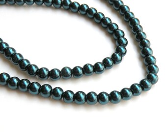 Denim Blue glass pearl beads round 6mm full strand 9870GL