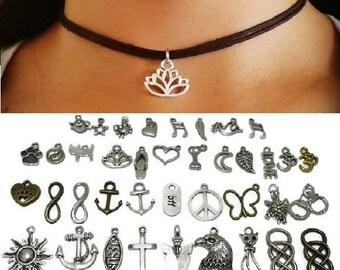 Choker Necklace, Charm Choker, Black Cord Choker, Boho Choker, Grunge Choker, Hippie Jewelry, Grunge Jewelry, Bohemian Jewelry, Boho Jewelry