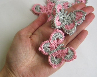 Crocheted Butterfly Appliques  Handmade 4 pieces in pink and gray, 2 inches wide