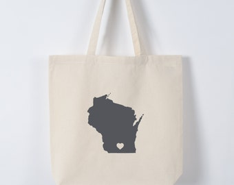 WISCONSIN LOVE TOTE gray state silhouette with heart on natural bag