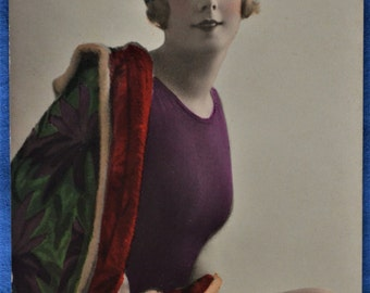 Risque Postcard Woman Burgundy Bathing Suit Green Cap Shawl Showing Legs Made in Italy 1920s