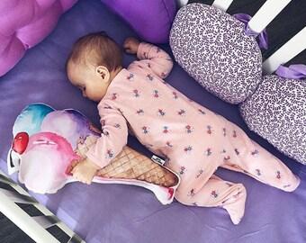 Ice cream pillow Yummy, Nursery Decor, Nursery pillow, Baby Shower Gift, Girls pillow, Baby boy pillow, Kids room decor pink, Christmas gift