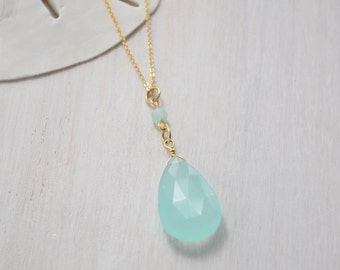 Aqua Blue Chalcedony Necklace, Chalcedony Necklace, Long Chalcedony Necklace, Chalcedony Pendant