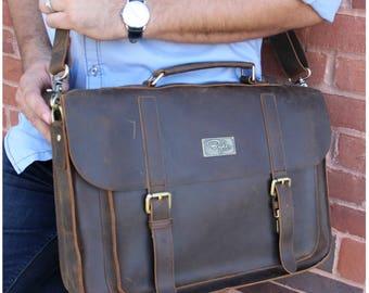 Mustang Brown Leather Messenger Bag