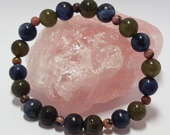 Sodalite, labradorite and rhodonite gemstone bracelet for anxiety