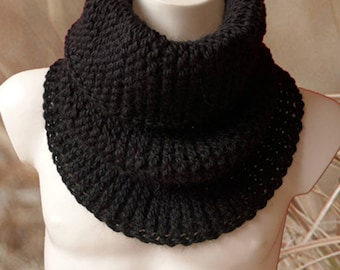 Black Knit Scarf, Chunky Infinity Scarf, Chunky Snood, Natural Fiber Scarf, Winter Scarf, Knit Cowl Scarf, Black Snood