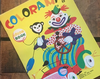 Vintage Coloring Book - Unused - For Children, Coloring, Crafts, Cute Animal Book, Cute Children Book, Activity Book, Unused Coloring Book