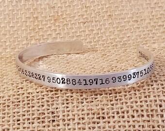 Math Teacher Gift - Pi Bracelet - Nerdy Math Bracelet - Pi Cuff - Geekery Pi item - Mathematician Jewelry - Teacher Appreciation Gift-Pi Day
