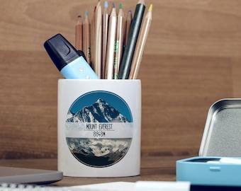 Mount Everest Himalayas Mountains Wanderlust Motivational Pencil Holder, Pen Pot, Pen Holder, Gift Idea, Children Gift, PP090