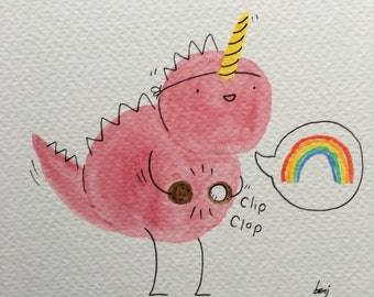 Dinosaur dress up. Unicorn (watercoloured doodle with mount)