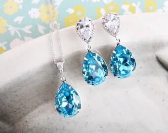 Sandra- Aquamarine Blue Swarovski Crystal Teardrop Cubic Zirconia Teardrop Earrings Necklace Set, Bridesmaid Bridal Jewelry Wedding