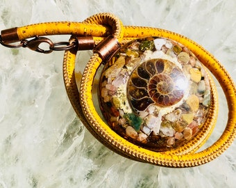 Orgonite® Pendant (Large) - Ocean Jasper/Sunstone/Tigers Eye/Ammonite - FREE WORLDWIDE SHIPPING!