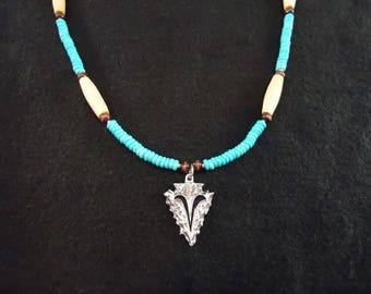 Turquoise Necklace With Arrowhead Pendant Native American Made