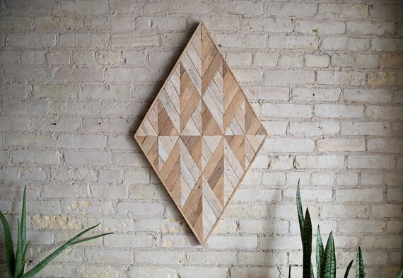 Reclaimed Wood Wall Art | Wood Decor  | Reclaimed Wood | Wood Art | Rustic Geometric| Wood Decor | Handmade | Diamond | Mid Century Decor