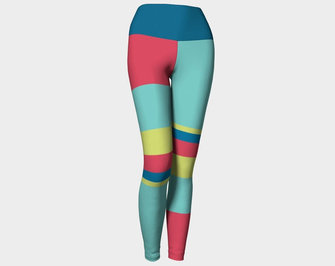 Cirque du Soleil Leggings, Blue, Green, and Fuchsia Striped Yoga Pants, Leggings, Women's Striped Leggings