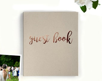 Wedding Guest Book >Fast Shipping Guest Book Wedding, Baby Shower Guest Book Rustic Wedding Guestbook Kraft, Rose Gold Flat-lay 8.5x7 130 pg
