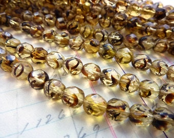 Vintage Bead Glass Bead Faceted Czech Glass Bead Topaz Tiger Stripe 6mm (25)