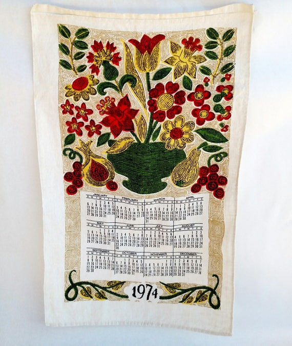 Vintage 1974 Linen Tea Towel Calendar with Colorful Bouquet of Flowers