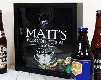 Craft Beer Bottle Top Collection Box-beer cap holder-beer cap collector-beer cap display-beer cap shadow box-beer cap box-fathers day gift
